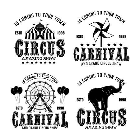 Circus and carnival vector monochrome emblems, badges, labels   in vintage style isolated on white background Ilustração