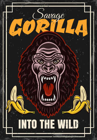 Gorilla head and two bananas vector decorative poster in vintage style. Illustration with sample text and grunge textures on separate layers