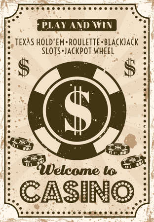 Casino and poker room advertising poster in vintage style with grunge textures vector layered illustration