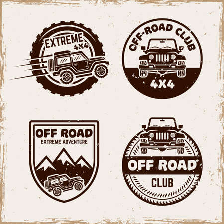 Off road set of four vector emblems, badges, labels   in vintage style with removable textures on separate layer Illusztráció