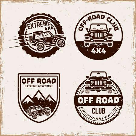 Off road set of four vector emblems, badges, labels   in vintage style with removable textures on separate layer Ilustração