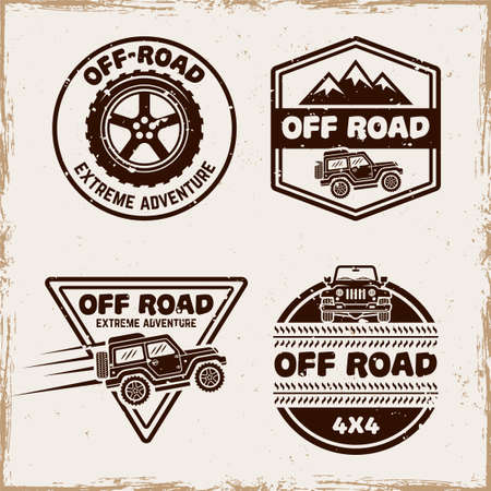 Off road and suv car set of four vector emblems, badges, labels  in vintage style with removable textures on separate layer