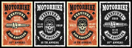 Motorcycle garage and repair service set of four vector posters in vintage style with skull and spark plug Ilustração