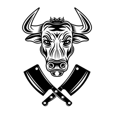 Bull head and two crossed meat cleavers vector monochrome illustration in vintage style isolated on white background Ilustração