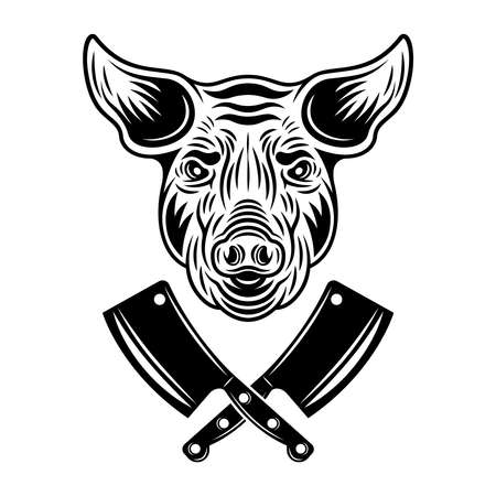 Pig head and two crossed meat cleavers vector monochrome illustration in vintage style isolated on white background