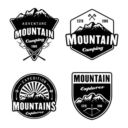 Mountains and outdoor adventure, camping and hiking set of four black vector emblems, labels, badges or logos isolated on white background