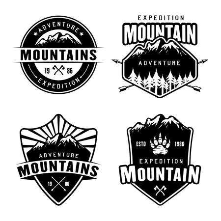 Mountains camping and outdoor adventure set of four monochrome vector emblems, labels, badges or logos isolated on white background Ilustração