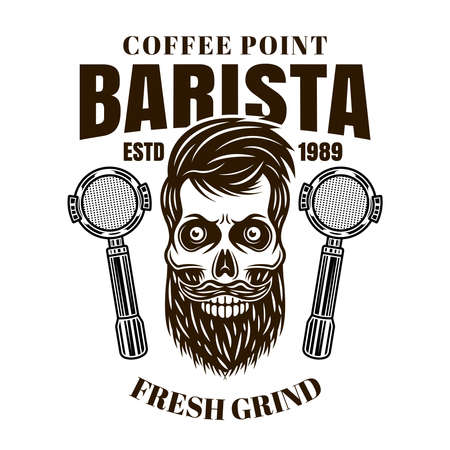 Barista bearded skull vector coffee emblem, badge, label or logo in monochrome vintage style isolated on white background