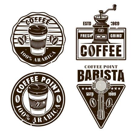 Coffee set of vector black and white emblems, badges, labels or logos in vintage style Ilustração