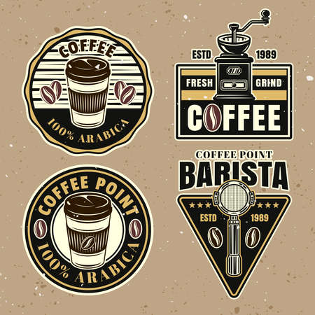 Coffee set of vector colorful emblems, badges, labels or logos on background with removable textures