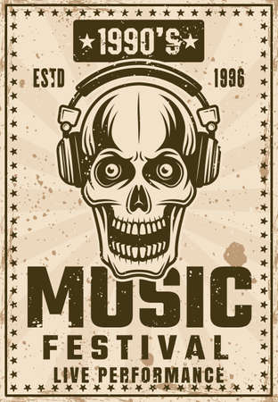Music nineties festival vintage poster with skull in headphones vector illustration. Layered, separate grunge texture and text Ilustração
