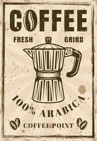Coffee vintage poster with moka pot vector illustration. Layered, separate grunge texture and text Ilustração