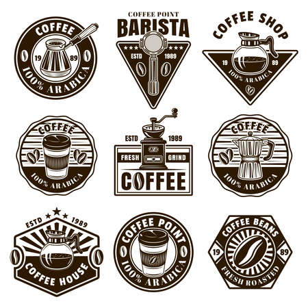 Coffee set of nine vector black and white emblems, badges, labels or logos in vintage style isolated illustration Ilustração