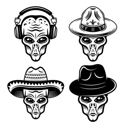 Alien heads in different headdress set of vector monochrome objects or design elements isolated on white background