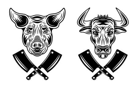 Bull head and pig head vector butchery objects or elements in monochrome style isolated on white background