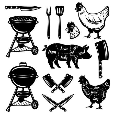 Barbecue and butchery shop set of vector objects and design elements in monochrome style isolated on white background