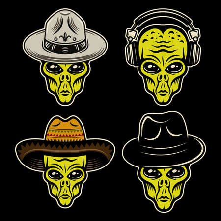 Alien heads in different headdress set of vector colorful objects or design elements on dark background Ilustração