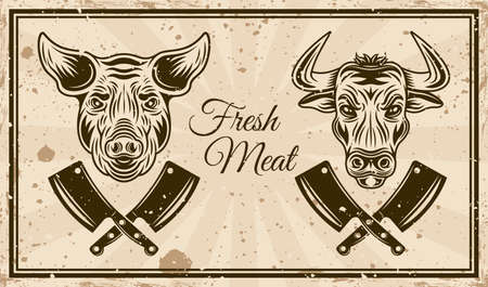Butchery shop vector horizontal poster in vintage style with bull head and pig head. Grunge textures and text on separate layers Ilustração