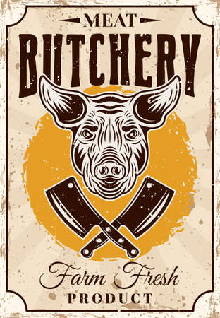Butchery shop farm fresh pork meat product vector vertical poster or advertisement banner in vintage style with pig head and crossed cleaver knives