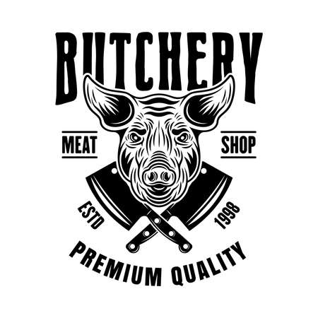 Butchery shop vector emblem, badge, label or logo with pig head in vintage monochrome style isolated on white background