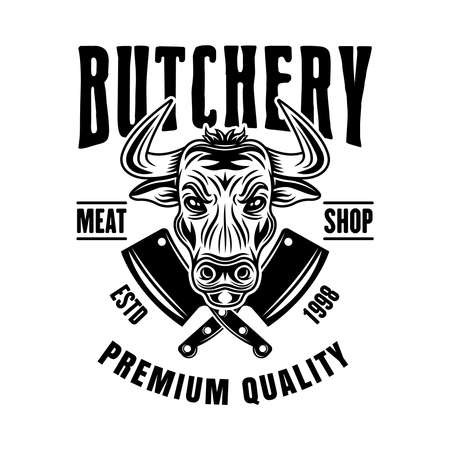 Butchery shop vector emblem, badge, label or logo with bull head in vintage monochrome style isolated on white background Ilustração