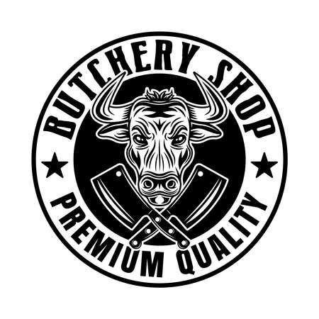 Butchery shop vector round emblem, badge, label or logo with bull head in vintage monochrome style isolated on white background