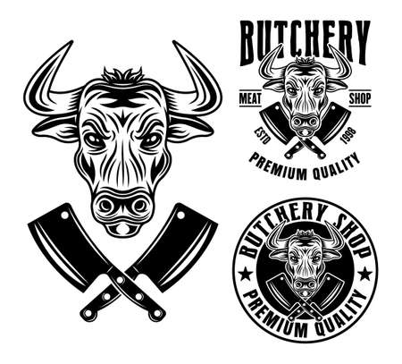 Bull head and two butchery shop emblems, badges, labels or logos vector monochrome illustration in vintage style isolated on white background Ilustração