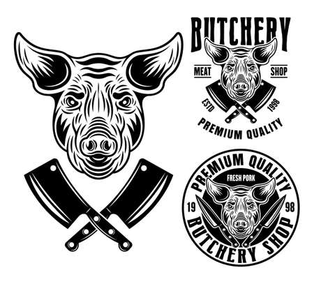 Pig head and two butchery shop emblems, badges, labels or logos vector monochrome illustration in vintage style isolated on white background