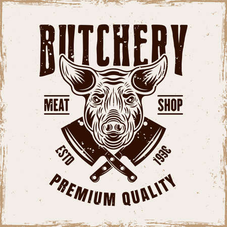 Butchery shop vector emblem, badge, label or logo with pig head in vintage style on background with removable grunge textures Illusztráció
