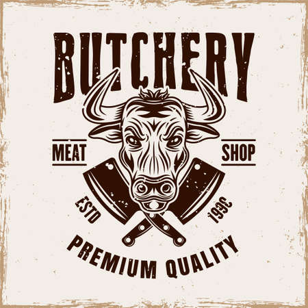 Butchery shop vector emblem, badge, label or logo with bull head in vintage style on background with removable grunge textures