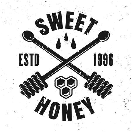 Honey vector emblem, badge, label or logo in monochrome style isolated on white background