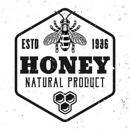 Honey and beekeeping vector emblem, badge, label or logo in monochrome style isolated on white background Illustration