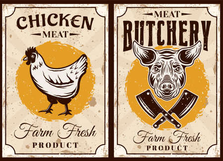 Butchery and meat shop set of two posters with chicken and bull vector illustration in vintage style
