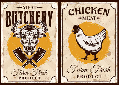 Meat shop and butchery set of two vector posters with chicken and bull illustration in vintage style