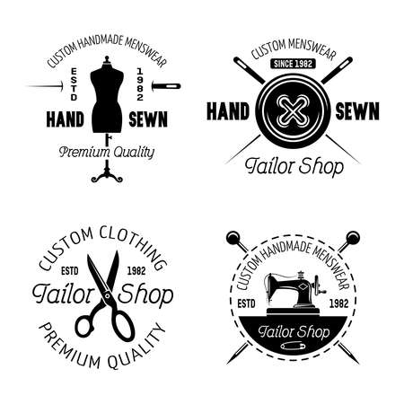 Tailor shop set of four vector monochrome emblems, labels, badges or logos isolated on white background