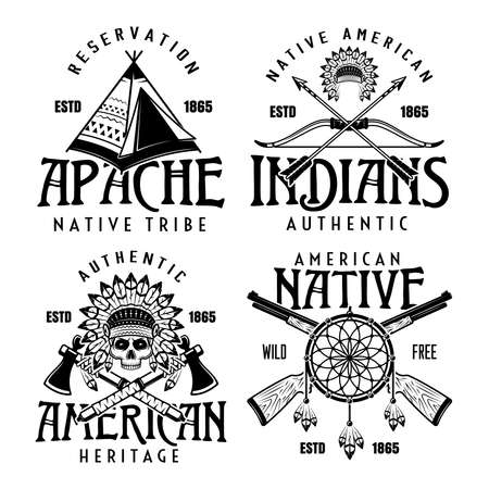 Native american indians set of four vector vintage emblems, labels, badges in monochrome style isolated on white background
