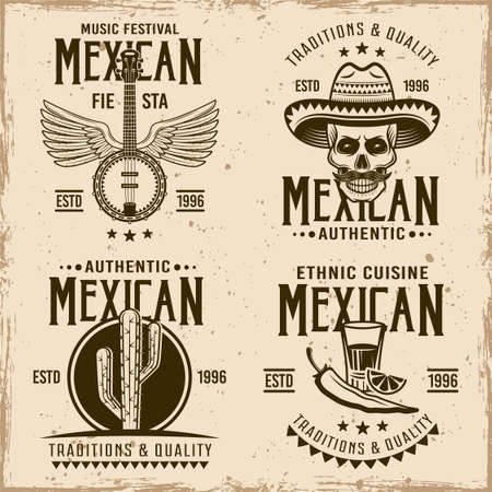 Mexican set of four vector emblems, labels, badges in vintage style on dirty background with stains and grunge textures Vetores