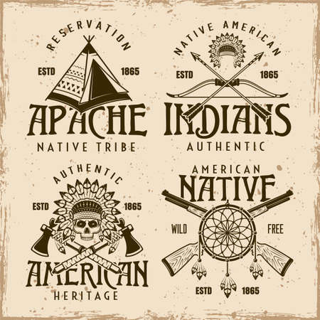 Native american indians set of four vector emblems, labels, badges in vintage style on dirty background with grunge textures