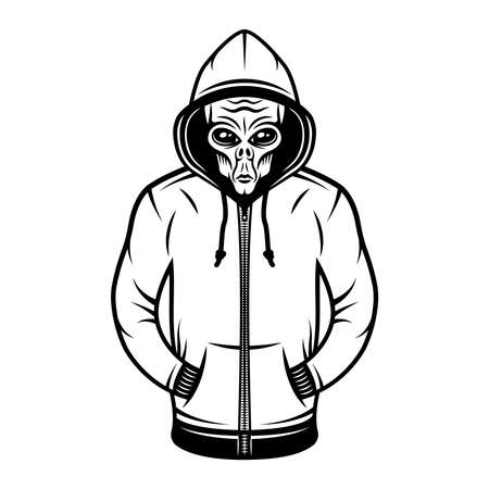 Alien in hoodie vector object or design element in vintage style isolated on white background