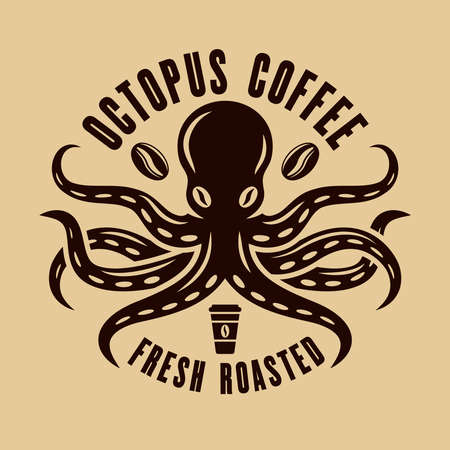 Octopus coffee  concept in vintage style. Vector emblem, badge, label template Illustration