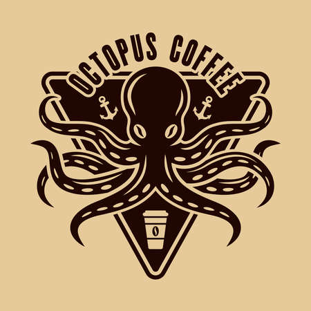 Octopus coffee   concept in vintage style illustration