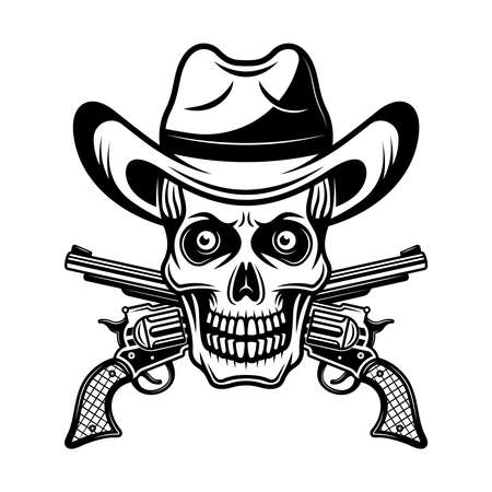 Skull in cowboy hat and two crossed pistols vector illustration in monochrome vintage style isolated on white background