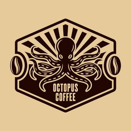 Octopus coffee vector emblem, badge, label or  concept vintage illustration