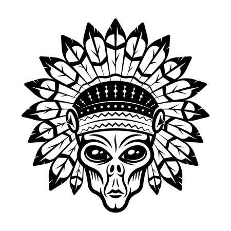Alien head in indian headdress vector illustration in monochrome vintage style isolated on white background Illustration