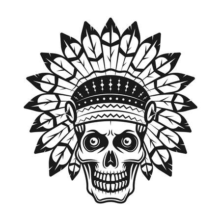 Skull in indian headdress vector illustration in monochrome vintage style isolated on white background