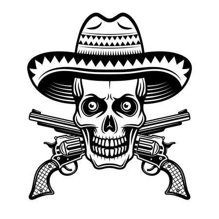 Skull in mexican sombrero hat and two crossed pistols vector illustration in monochrome vintage style isolated on white background Illustration