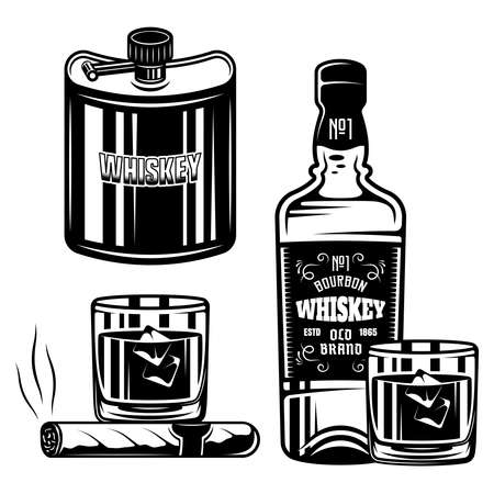 Whiskey set of vector black objects or design elements isolated on white background