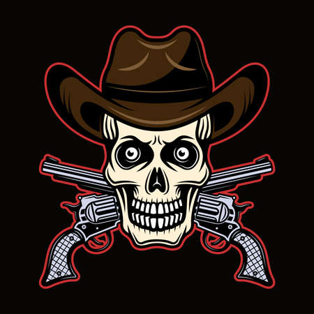 Skull in cowboy hat and two crossed pistols vector illustration in colorful cartoon style isolated on dark background Illustration