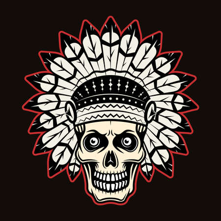 Skull in indian headdress vector illustration in colorful cartoon style isolated on dark background