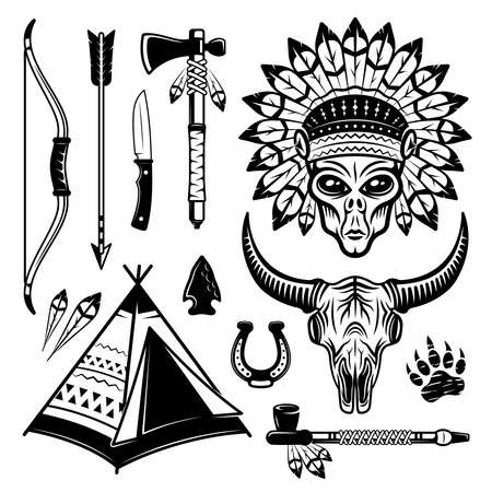 Alien indian and different western elements set of vector objects in black and white vintage style isolated illustration
